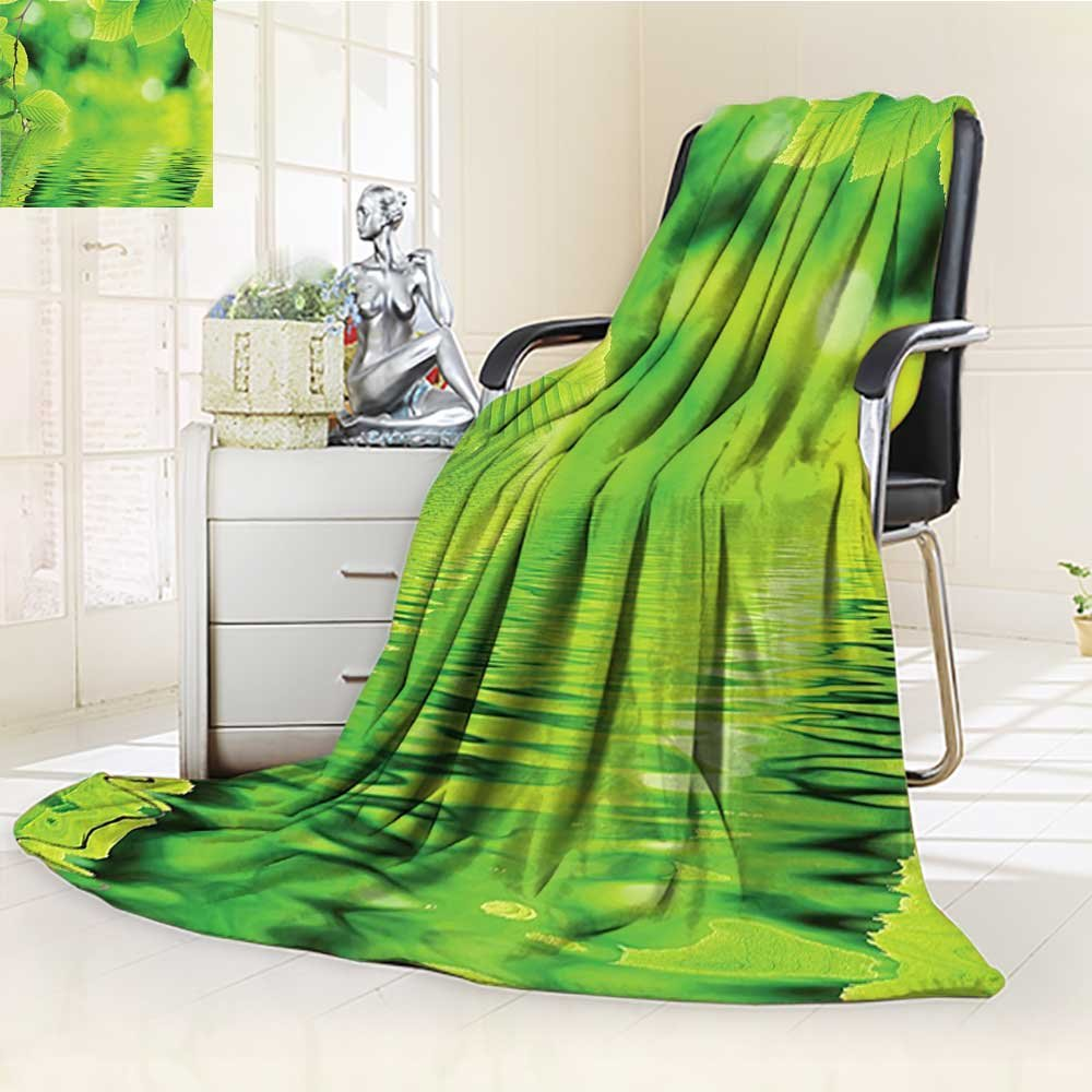 YOYI-HOME Silky Soft Plush Warm Duplex Printed Blanket,The Water Spa Open Your Chakra with Nature Meditation Ecological Monochrome Photo Green Anti-Static,2 Ply Thick Blanket /W59 x H39.5
