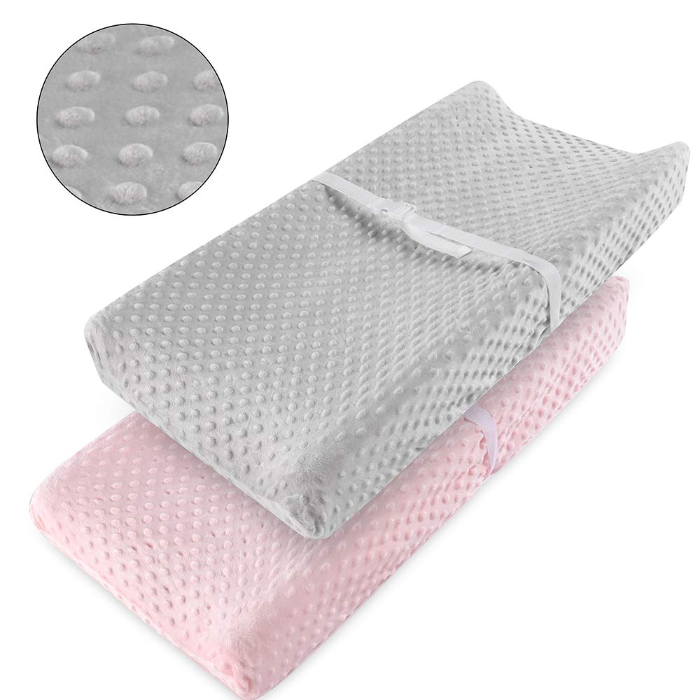 Vextronic Ultra Soft Changing Pad Cover Changing Table Cover for Baby Girls Boys,2 Packs (Pink&Grey) by Vextronic