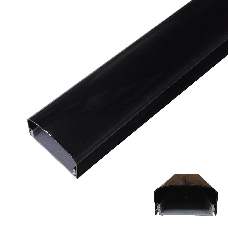 Kabelkanal aus Aluminium - 115x5cm - rund oder eckig - Weiß , Schwarz oder Grau/Silber - Einfaches Klicksystem (Schwarz abgerundet) Online-Fuchs