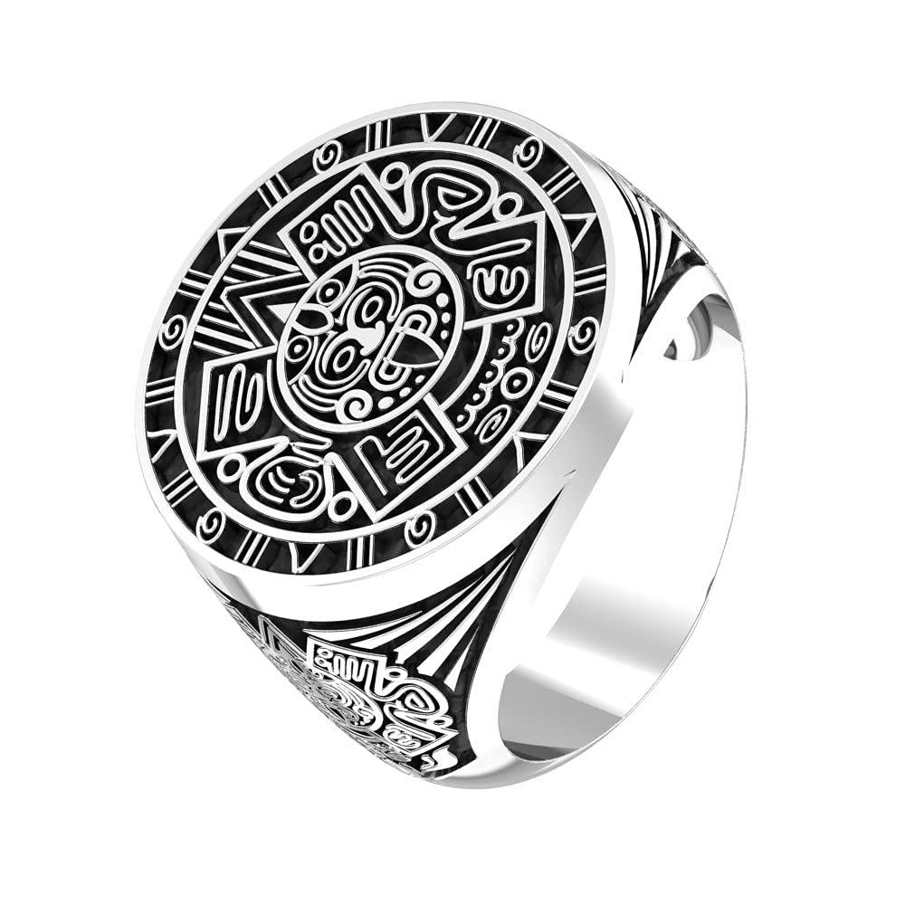 Mayan Calendar Silver Ring