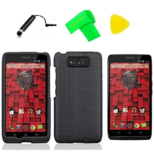 Hard Snap On Protector Cover Phone Case + Screen Protector + Extreme Band + Stylus Pen + Pry Tool For Motorola Droid Maxx XT-1080M Ultra XT-1080 XT1080 Obake (Carbon FIber Design) (Faceplate Protector Carbon Fiber)