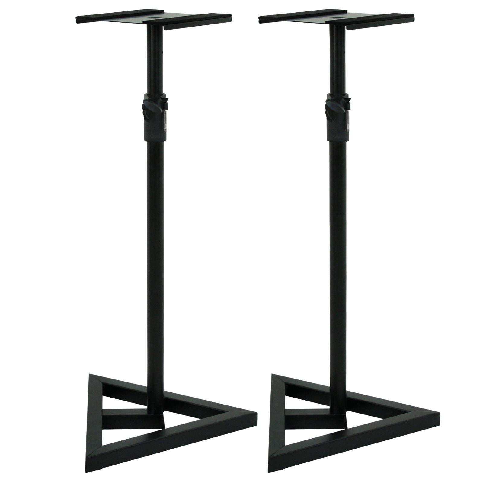 ZENY Height Adjustable 2 Studio Monitor Speaker Stands Heavy Duty Metal Triangle Pair Steel Stands