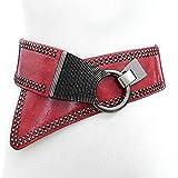 Ya Jin Women Ladies Waist Belt Leather Fashion Wide Elastic Waistband Punk Rivets Dress Belt