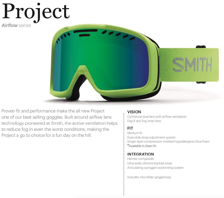 bd3aa26d787 Amazon.com   Smith Optics Project Adult Snow Goggles - Black Blue Sensor  Mirror One Size   Sports   Outdoors