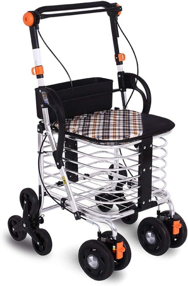 Gyj&mmm Carro de Compras Plegable, Carro portátil, Andador portátil de Cuatro Ruedas, Puede Subir escaleras para Comprar carros de Comida, peatones, vagón Viejo: Amazon.es: Hogar