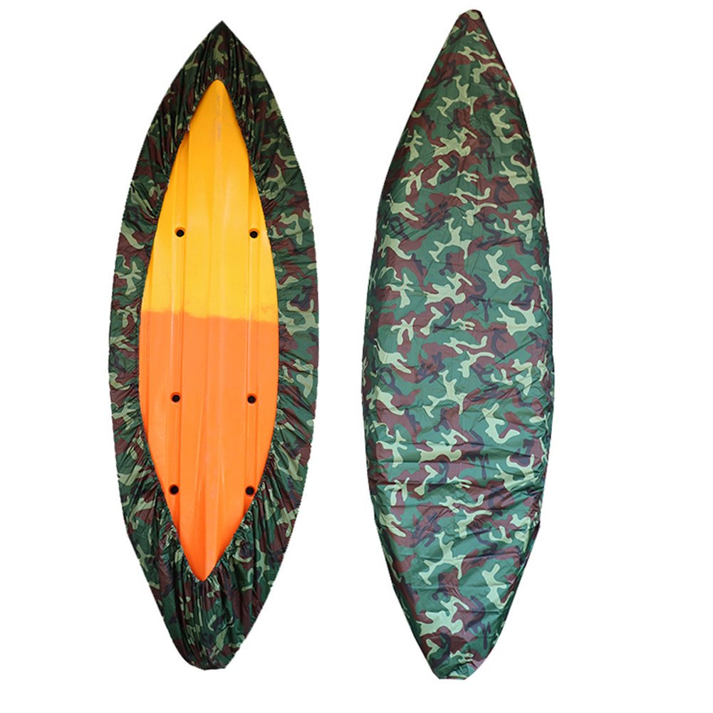 GYMTOP 7.8-18ft Waterproof Kayak Canoe Cover Camouflage - Outdoor Storage Dust Cover UV Protection Sunblock Shield for Fishing Boat/Kayak/Canoe [7 Sizes] (Forest camo, Suitable for 7.8-9ft Boat)
