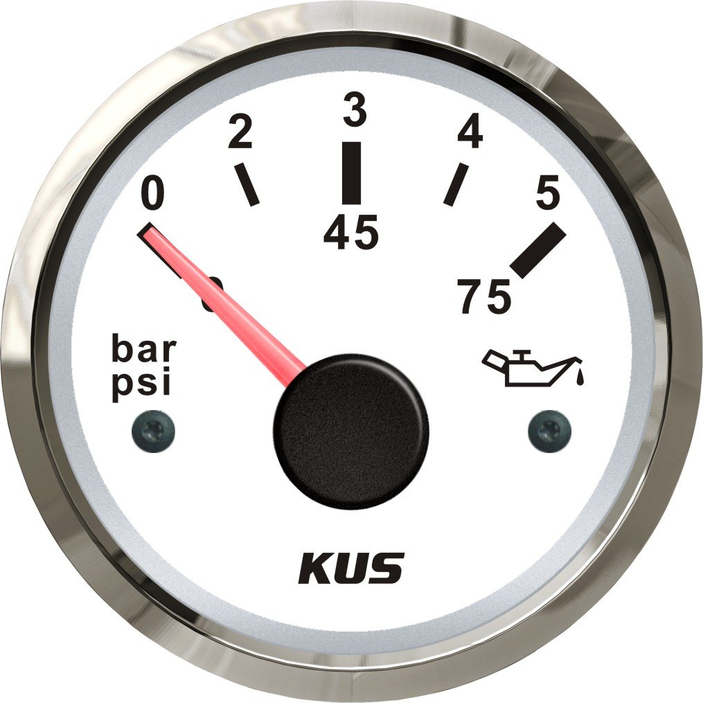 Kus oil Fuel pressure gauge Meter 0  –   5BAR 0  –   75PSI con retroilluminazione 12  V/24  V 52  mm (5, 1  cm) 1 cm)