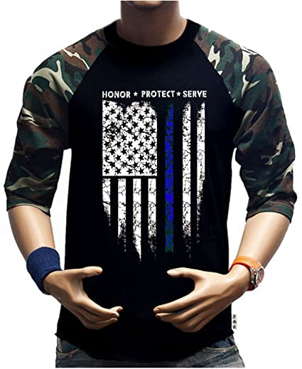 SR Men s Thin Blue Line USA Protect Police Flag Baseball Shirts Army  American T Shirt With 57af3c0cdda
