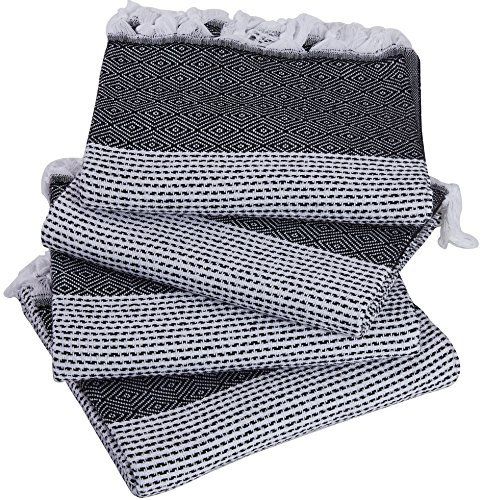 Set of 4 – New Season BRIGHTEST Diamond Weave Turkish Cotton Bath Beach Hammam Fouta Towel Sheet Peshtemal Blanket