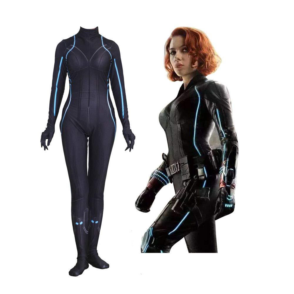Black XXXL SEJNGF Avengers Cosplay Siamese Tights Halloween Lady Cosplay Costume (without Headgear),BlackXXXL
