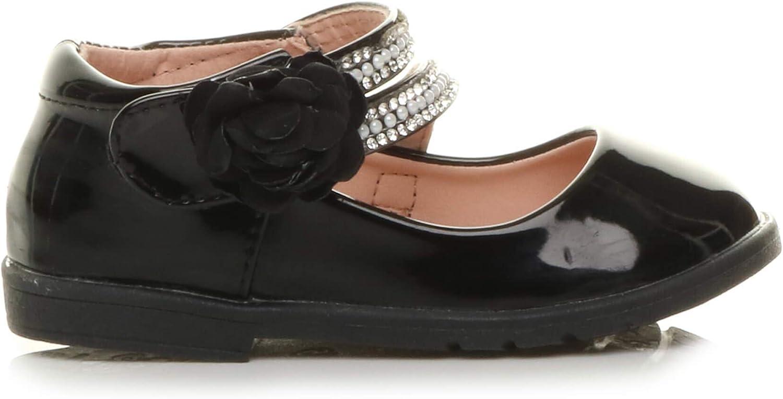 Ajvani Girls Kids Childrens Flat gem Flower Strap Bridesmaid Party Formal Shoes Size