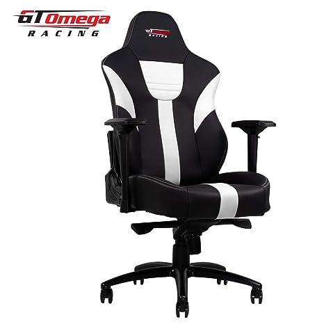 GT Omega Master XL - Silla de oficina de piel, diseño deportivo, color blanco y negro: Amazon.es: Hogar