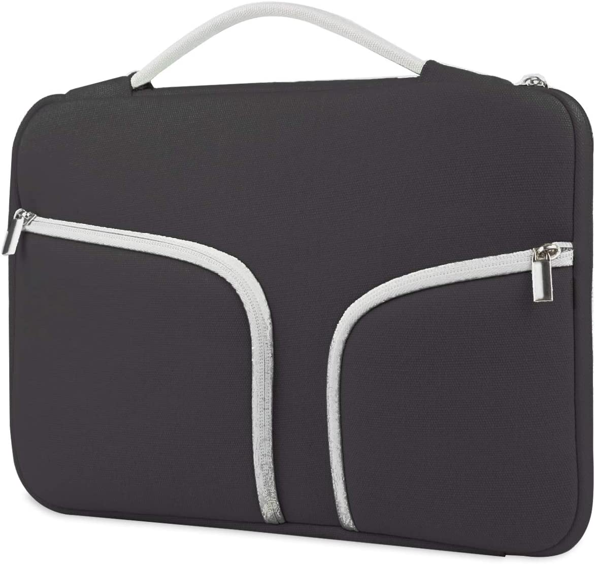 HESTECH Chromebook Case,11.6-12.3 inch Canvas Laptop Sleeve Bag Handle Front Pockets Compatible with Acer ASUS Dell HP Lenovo Thinkpad Yoga Samsung Toshiba MacBook air Microsoft Surface, Black