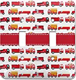 Firetrucks Light Switch Cover (2 Toggle Plate) (Personalized)