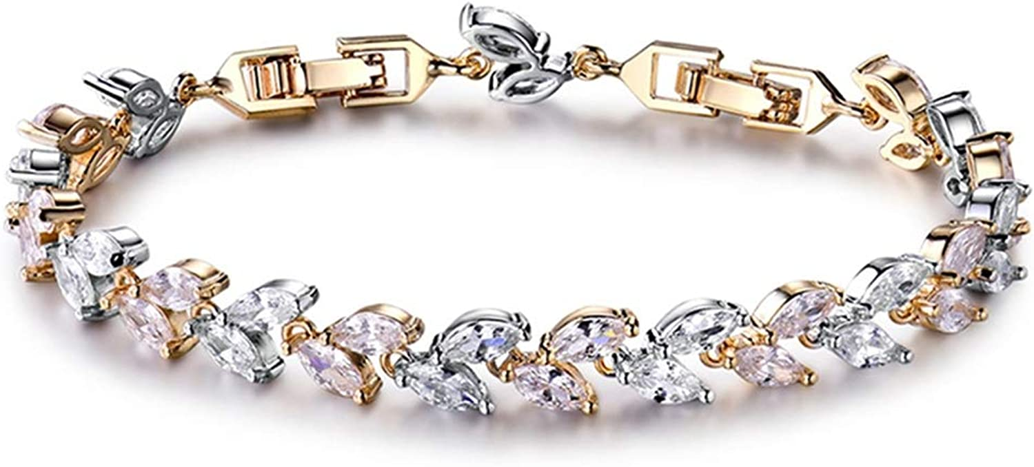 Trendy Unique Jewelry White Color Leaf Charm AAA CZ Crystal Female Bracelets Bangles