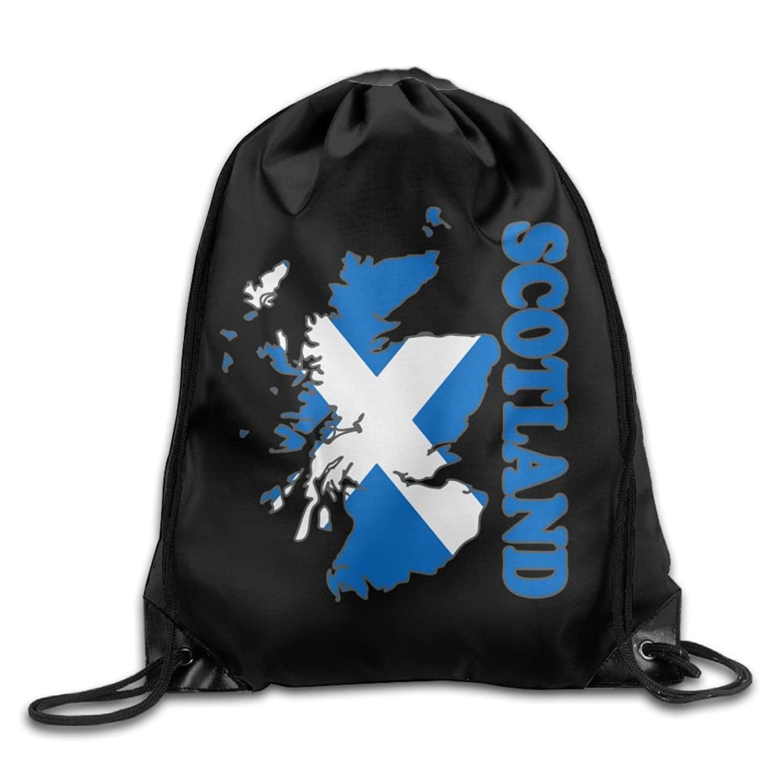 Scotland Flag Map Drawstring Pack Beam Mouth School Travel Backpack Rucksack Shoulder Bags For Men & Women