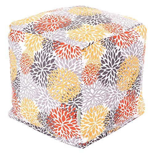 Majestic Home Goods Blooms Cube, Small, Citrus (Ottoman Pouf Inexpensive)