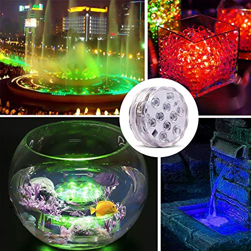 Underwater Submersible LED Lights Waterproof Multi Color Battery Operated Remote Control Wireless 10-LED lights for Hot Tub,Pond,Pool,Fountain,Waterfall,Aquarium,Party,Vase Base,Christmas,IP68 2pack by WHATOOK (Image #5)