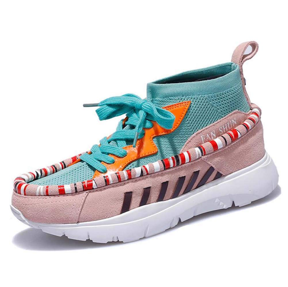 Femmes Pompe Fashion Chaussures de Sport Couleur Assortie Chaussettes Stretch Shoes Fashion Pompe Casual Lacets Snekers EU Taille 35-40 35EU|pinkgreen 8f51a1