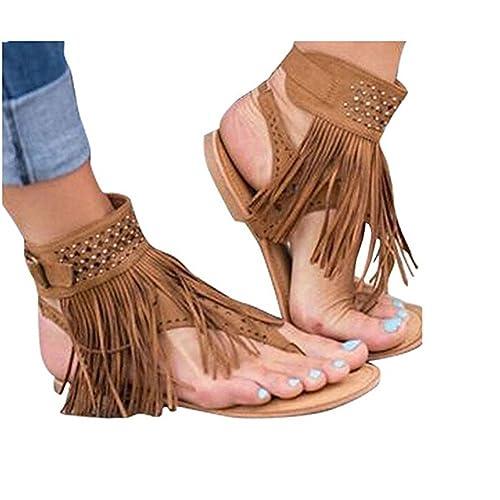 342e0f78a11c6 Huiyuzhi Womens Suede Tassels Thong Flat Sandals Flip Flops Fringe Shoes  (7.5 B(M