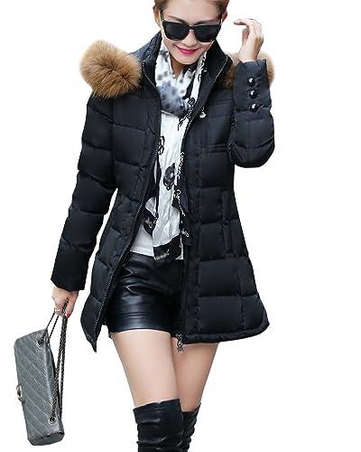 Mujer De Manga Larga Abrigo Acolchado Chaqueta Larga Abrigo De Invierno Parka Con Capucha