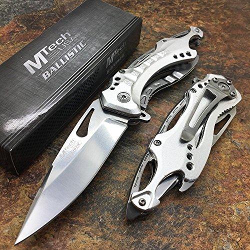 MTech USA Ballistic MT-A705SL Spring Assist Folding Knife, Silver Straight Edge Blade, Silver Handle, 4.5-Inch Closed