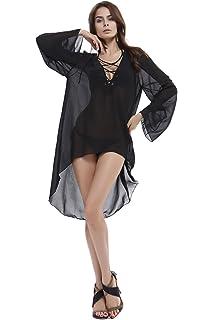 b3bb12f1d1 Fletion Summer Chiffon Mini Beach Dress Women s V-Neck Sexy Skirt Sundress  Bikini Cover Up