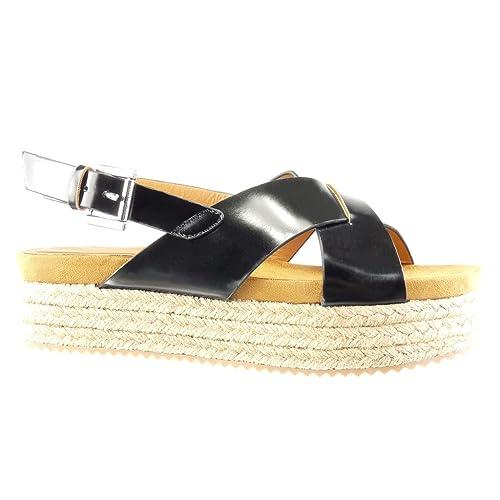 Angkorly - Zapatillas Moda Sandalias Alpargatas Plataforma Mujer Tanga Hebilla Plataforma 5 CM: Amazon.es: Zapatos y complementos