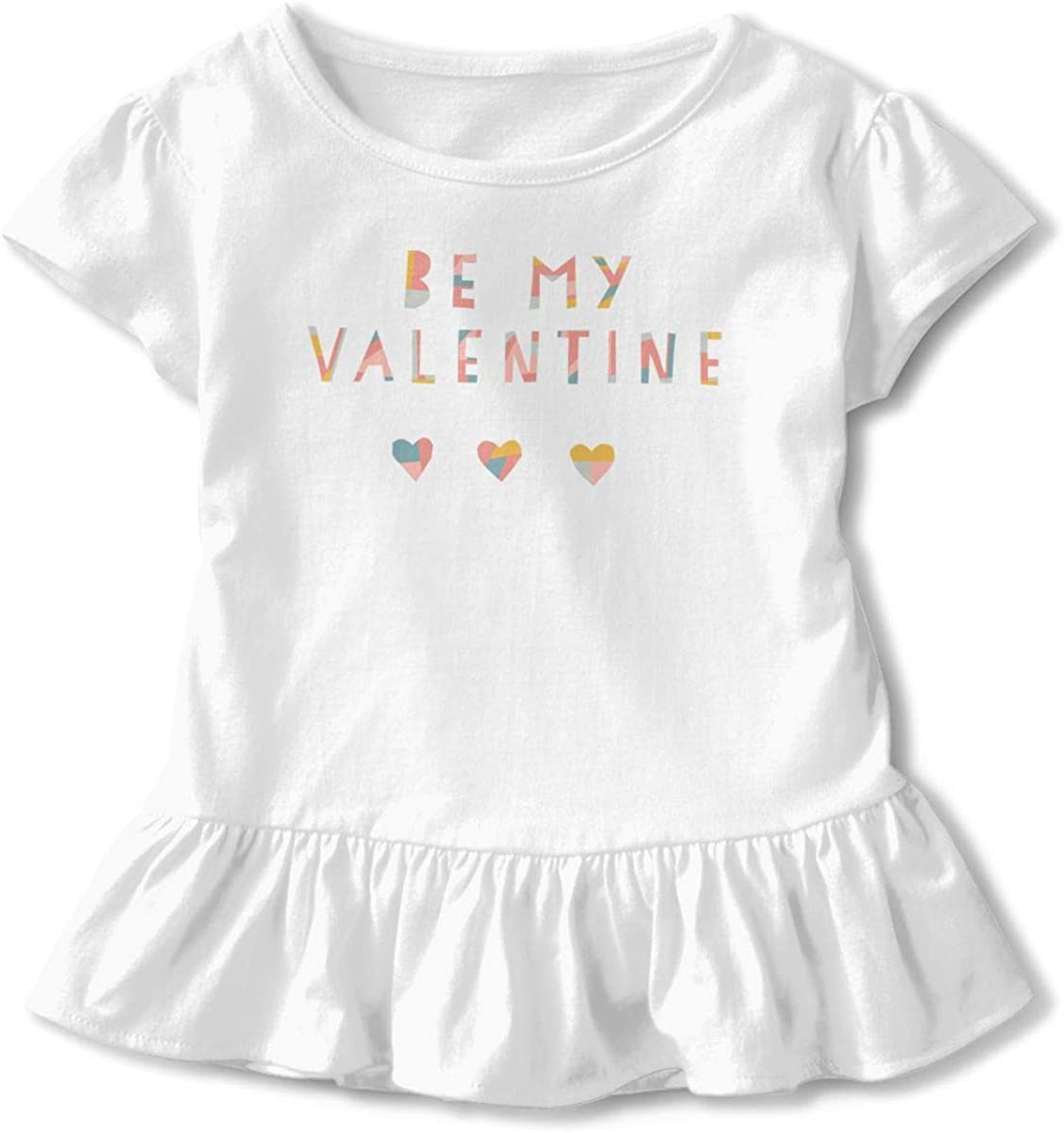 Be My Lover I Love You Infant Girl Short Sleeve T-Shirt Flounced Cotton Tops for 2-6 Years Old Baby