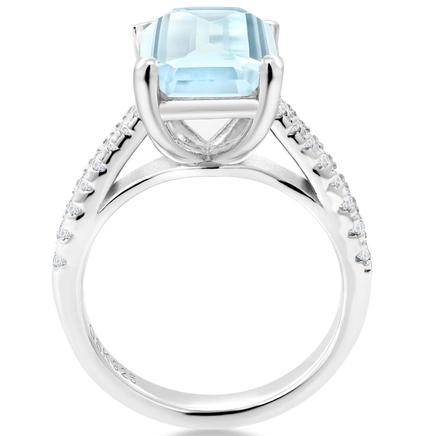Gem Stone King 4.26 Ct Octagon Sky Blue Topaz White Created Sapphire 925 Sterling Silver Ring