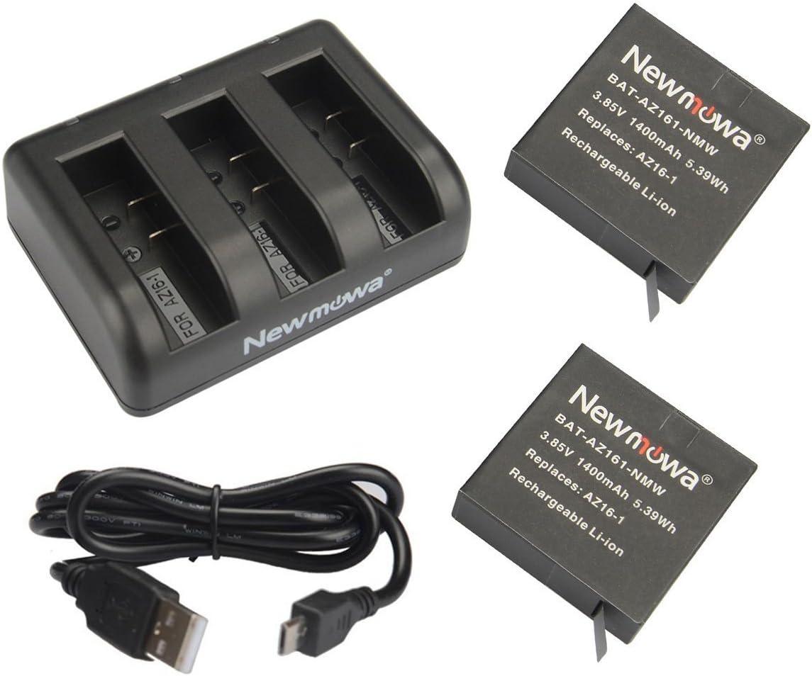 Newmowa AZ16-1 Replacement Battery (2-Pack) and 3-Channel USB Charger for Xiaomi YI AZ16-1,AZ16-2 and Xiaomi Yi 4K,Yi 4K+,Yi Lite,YI 360 VR Action Camera(Not for Discovery Version)