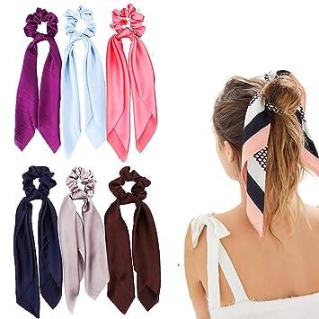 Hair Scrunchie Pink Satin Scrunchie Pink and Black Valentine Scrunchie Satin Scrunchy with Tail Hair Accessory Hair Tie Bow Scrunchy