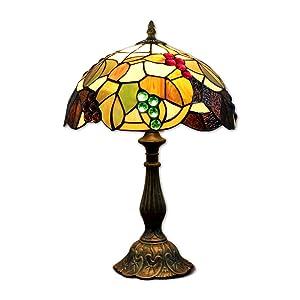 EuSolis 12 pouces vitrail raisins Tiffany lampe de chevet E27 pour chambre salon rétro Vintage Art Deco Designer lampe