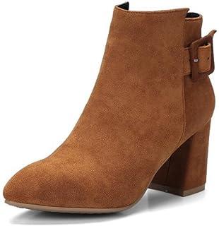 Damen Rund Zehe Rein Rinder Wildleder Stiefel mit Metallisch, Aprikosen Farbe, 34 AgooLar