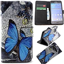 G530H Case,G530H Flip Cover,Gift_Source [Stand Feature] Case Wallet [Wallet S] Premium Wallet Case Flip Cover for Samsung Galaxy Grand Prime G530H/DS - Blue Butterfly Pattern