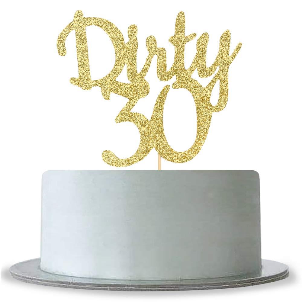 Incredible Amazon Com Dirty 30 Cake Topper Gold Glittle Happy 30Th Birthday Funny Birthday Cards Online Hetedamsfinfo