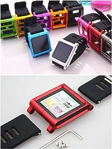 Aiboco iPod Nano 6 6G Watch Wrist Straps Band with Full Cover Alumium Case (Orange)