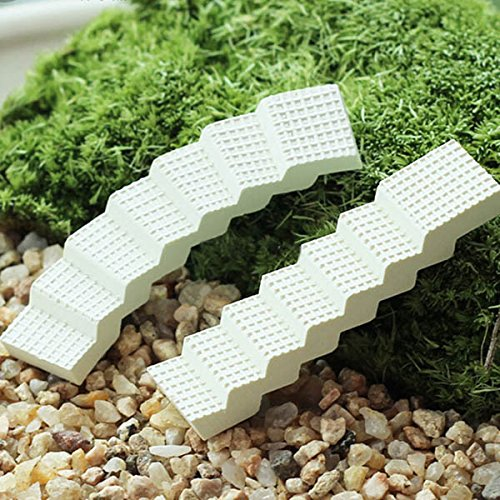 [4pcs DIY Moss Micro Landscape Mini White Stair Decoration Garden Flowerpot Plant Decor] (Hula Dancer Costume Diy)