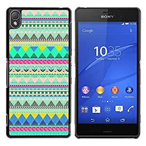 YOYOYO Smartphone Protección Defender Duro Negro Funda Imagen Diseño Carcasa Tapa Case Skin Cover Para Sony Xperia Z3 D6603 D6633 D6643 D6653 D6616 - patrón americano verde india nativa