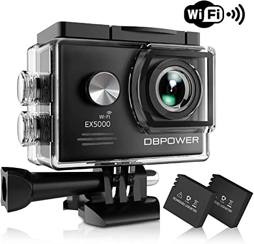 DBPOWER EX5000 Action Camera , 14MP 1080P HD WiFi Waterproof Sports Cam 2 Inch LCD Screen , 170 Degree Wide Angle Lens , 98ft Underwater DV Camcorder With 16 Accessories Kits A-Action camera