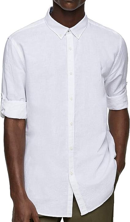 Zara Men 7545/402/250 - Camisa con Patas Blanco XL: Amazon.es ...