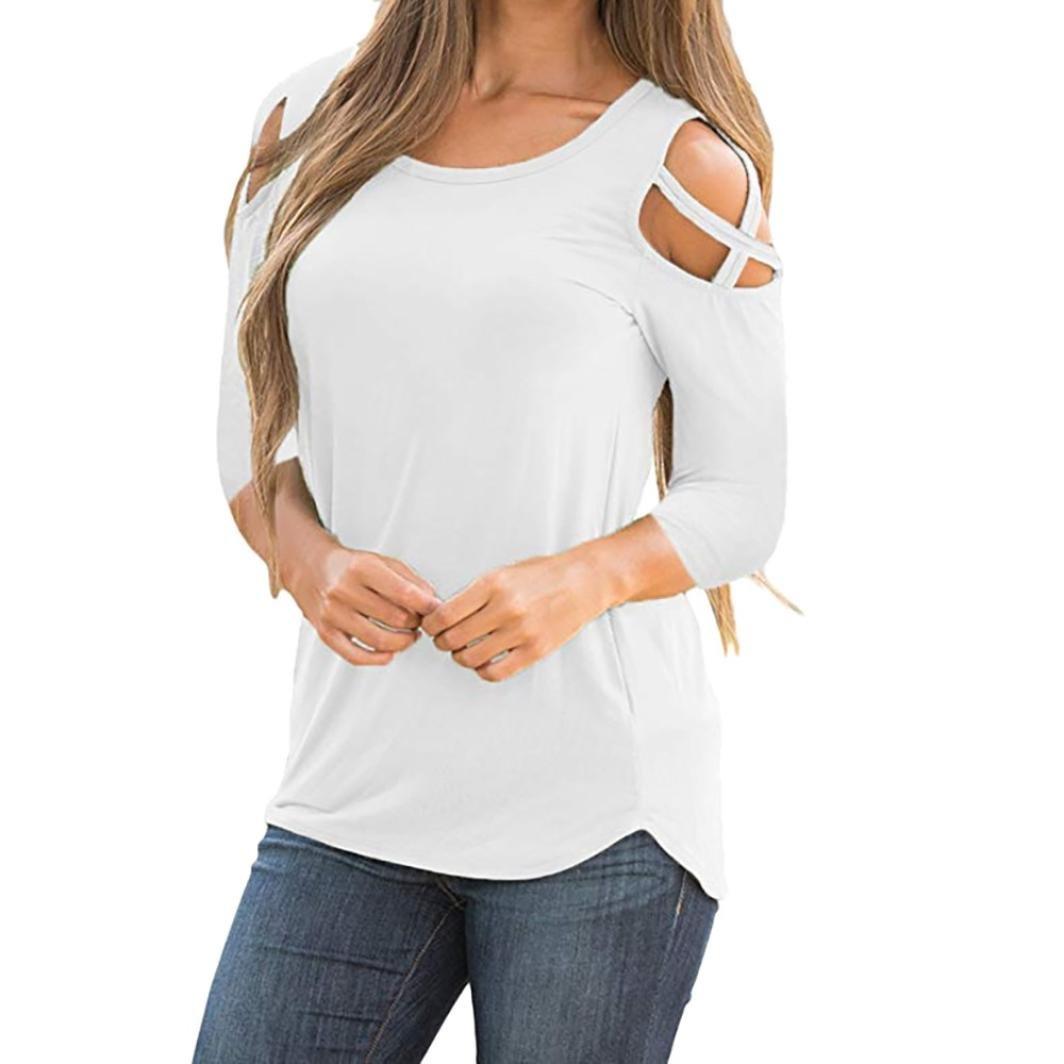 Clearance Rakkiss ストラップTシャツ ファッション コールドショルダー 長袖 トップス ブラウス バンデージシャツ B07FFSSGHD Large|🌸white 🌸white Large
