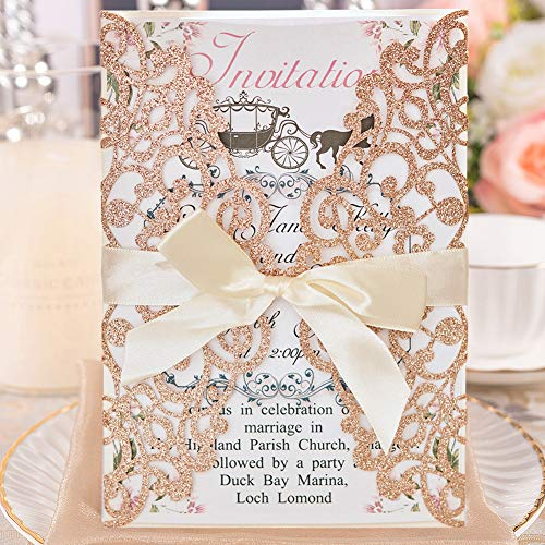 50pcs Wedding Invitation Cards with Envelopes Laser Cut Floral Invitation Card Printable Invite Cardstock for Bridal Shower Engagement Birthday Party Baby Shower Christmas Graduation, Rose Gold