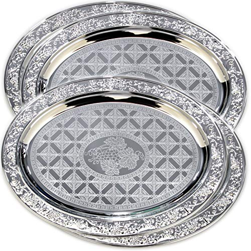 (Maro Megastore (Pack of 4) 20.1-Inch x 14.6-Inch Oval Chrome Serving Tray Grapes Engraved Bricks Pattern Design Decorative Holiday Wedding Birthday Buffet Party Dessert Party Wine 2059 L Tla-011)