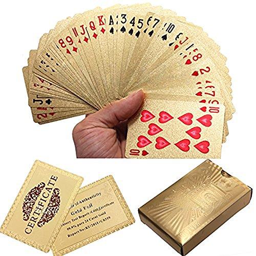 Gilt Foil (Board Game Toys - Gold Foil Plated Poker Playing Cards Certficate Dollar Euro - Metal Salamander Card Metallic Hook Gilt Golden Stove Amber Colored Gilded Chromatic Aureate - 1PCs)