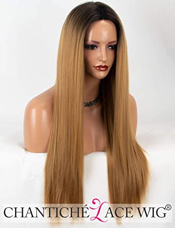 Chantiche Natural Looking Ombre Honey Blonde Wig Black Rooted Long Straight Machine Made Synthetic Wigs For Black Women Middle Part Heat Resistant #27 Color 22 Inches by Chantiche Lace Wig