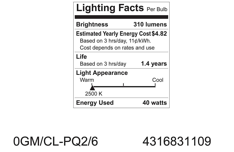 GE Crystal Clear 40-Watt 8 Bulbs 310-Lumen G16.5 Light Bulb with Medium Base