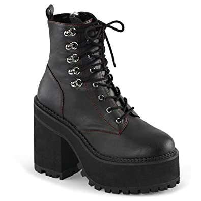 867af14d3ce378 Summitfashions Womens Vegan Leather Boots Black Platform Shoes Lace Up  Chunky Heel 4 3 4