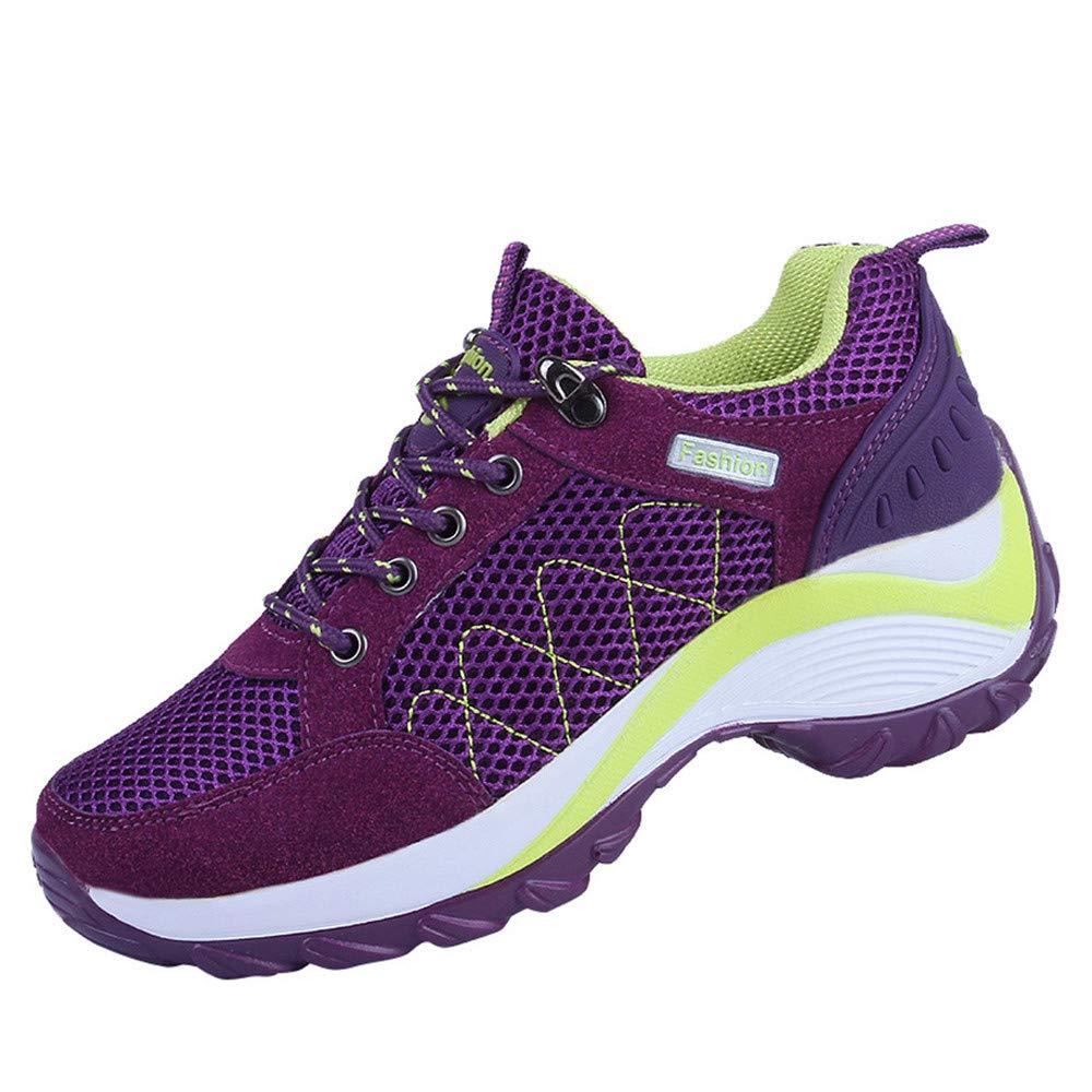 ❤ Zapatos de Deporte al Aire Libre de Las Mujeres, Zapatos de Malla Cordones Casuales cómodos Zapatos Corrientes de Alpinismo Zapatos de Senderismo ...