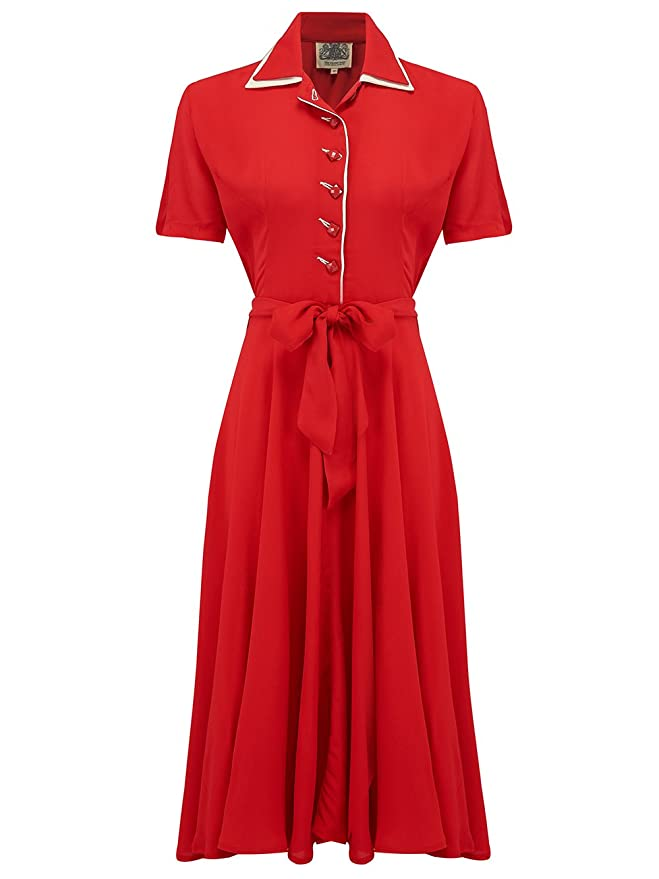 1940s Dresses and Clothing UK | 40s Shoes UK 1940s Vintage Inspired Mae Dress in Red by The Seamstress of Bloomsbury £79.00 AT vintagedancer.com